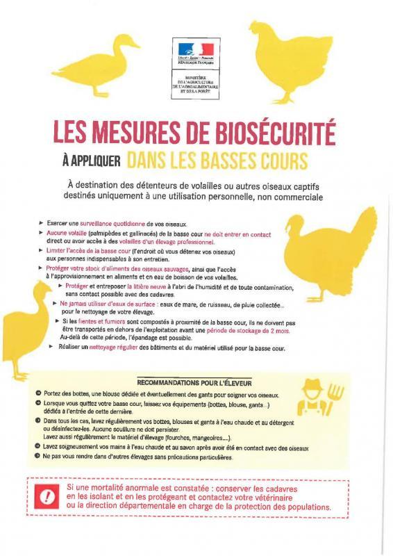 Mesures biosecurite basse cour